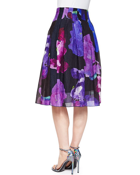 Crepon Printed Plisse A-Line Skirt
