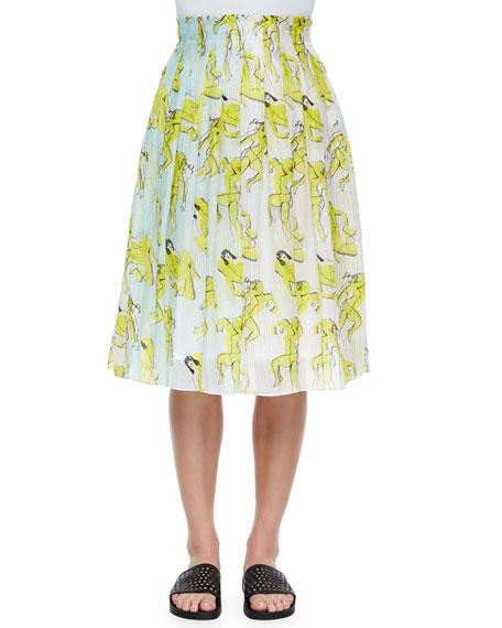 Risto People-Print Crinkled Chiffon Skirt