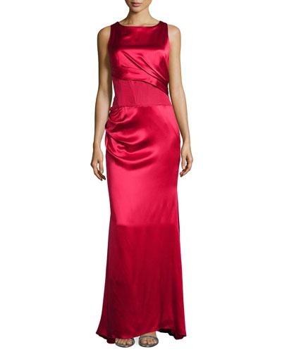Sleeveless Pleated Bodice Silk Gown