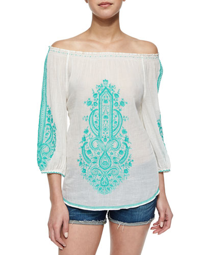 Off-The-Shoulder Embroidered Voile Top
