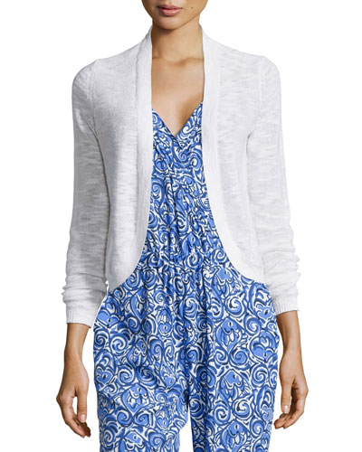 Moore Long-Sleeve Short Cardigan, White