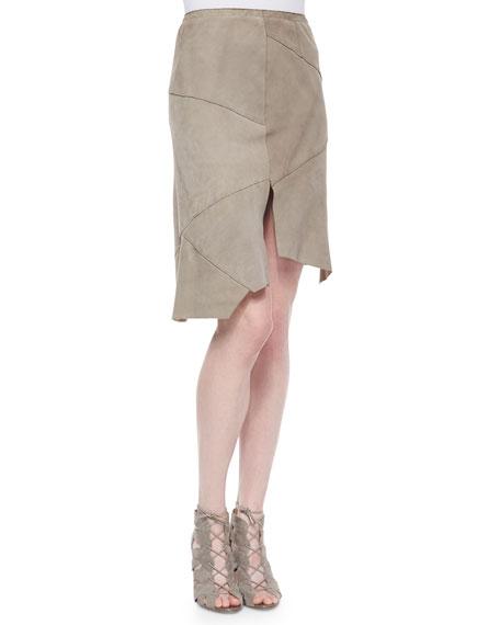 Elie Tahari Nicola Suede Skirt W/ Cutout Hem