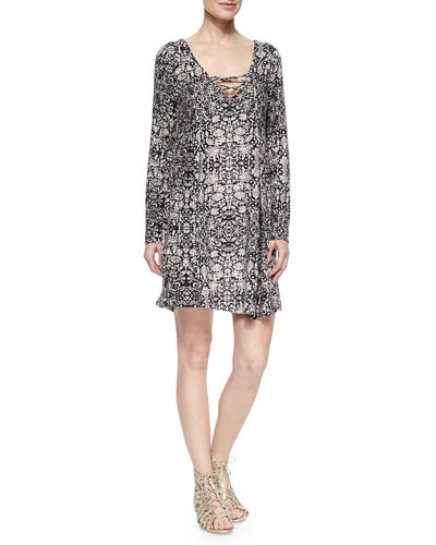 Yvette Lace-Up Printed Dress
