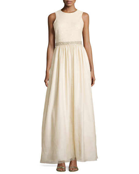 Aidan Mattox Sleeveless Tulle Gown w/ Bead Detail,