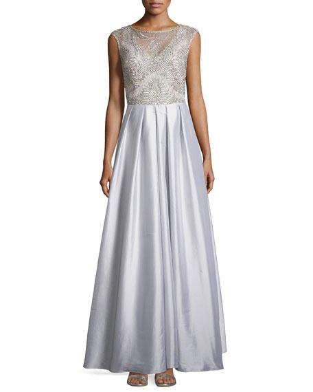 Aidan Mattox Beaded Bodice Cap-Sleeve Gown, Silver