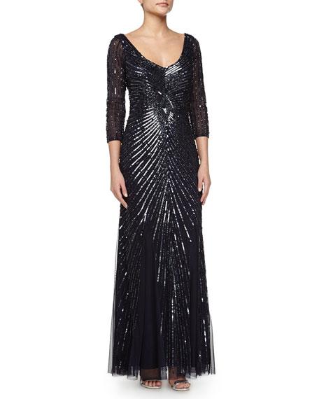 Aidan Mattox Beaded Tulle & Chiffon Gown, Twilight
