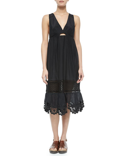 Lace-Trim Crochet/Voile Dress