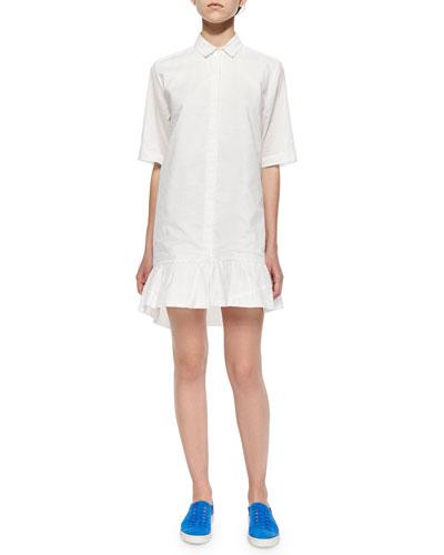 Patterned Ruffle-Hem Shirtdress