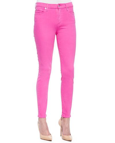 High-Waist Ankle Skinny Jeans, Fuchsia