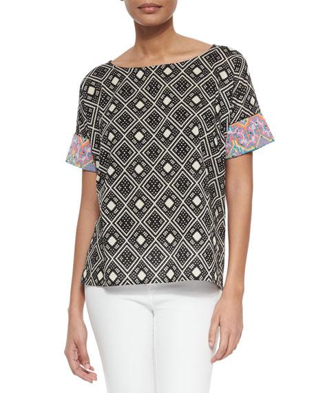 Essentiel Antwerp Tribal-Pattern Short-Sleeve Top