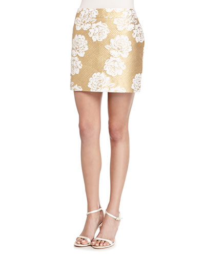 Metallic Floral-Print Tweed Skirt