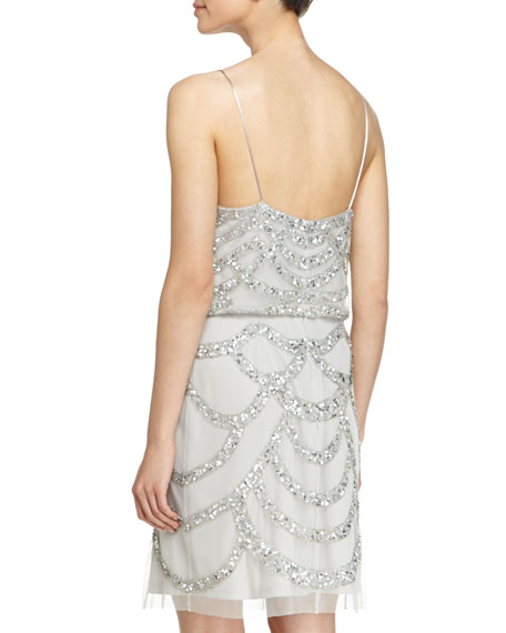 Beaded Cocktail Dress, Silver