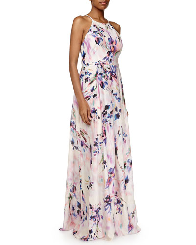 Sleeveless Floral Pleated Gown, Pink/Multicolor