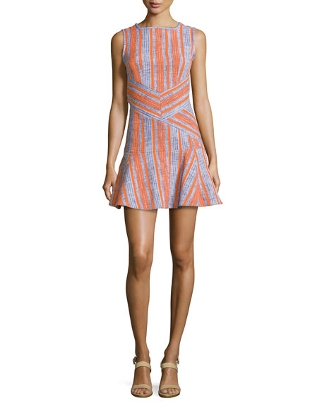 Carven Fancy Striped Tweed Dress