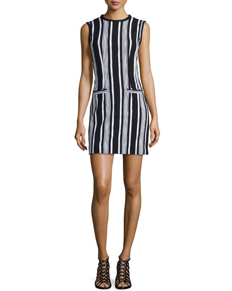 Carven Fancy Striped Tweed Woven Dress