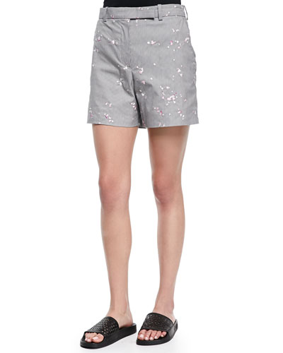 Floral-Embroidered Houndstooth Shorts