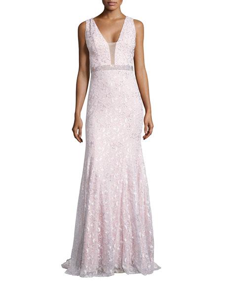 Jovani Sleeveless Lace Gown w/ Rhinestone Detail, Blush