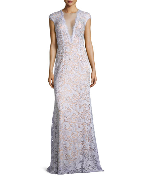 JovaniLace-Overlay Cap-Sleeve Gown, Lilac/Nude