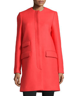 Crewneck Wool-Blend Coat, Red