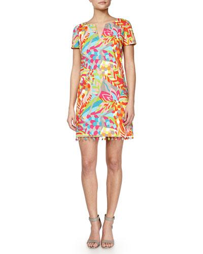 Museum Short-Sleeve Printed Dress