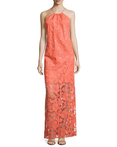 Lace Illusion Maxi Halter Dress, Coral