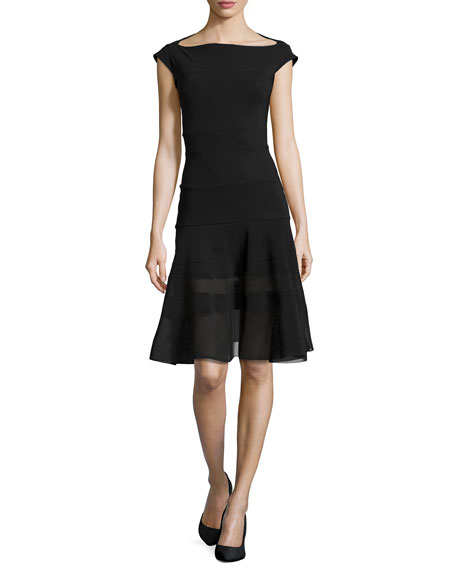 La Petite Robe di Chiara Boni Orlanda Cap-Sleeve Illusion Dress