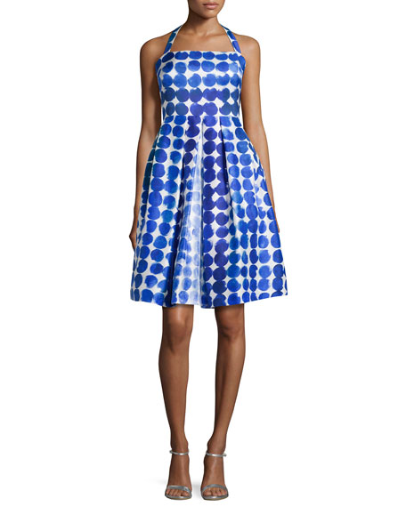 Kay Unger New York Polka-Dot Party Dress, Blue/White