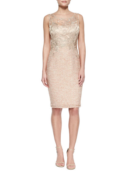 Kay Unger New York Lace-Bodice Tweed Sheath Dress