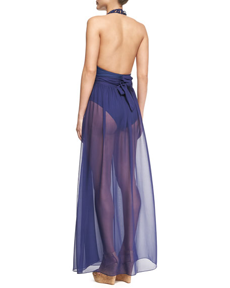 Schyna Sheer Pleated Coverup Skirt