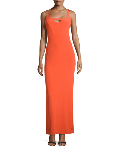 Sleeveless Keyhole-Front Column Gown