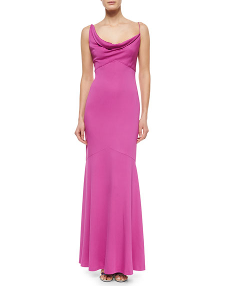 Nicole Miller Sleeveless Cowl-Neck Mermaid Gown