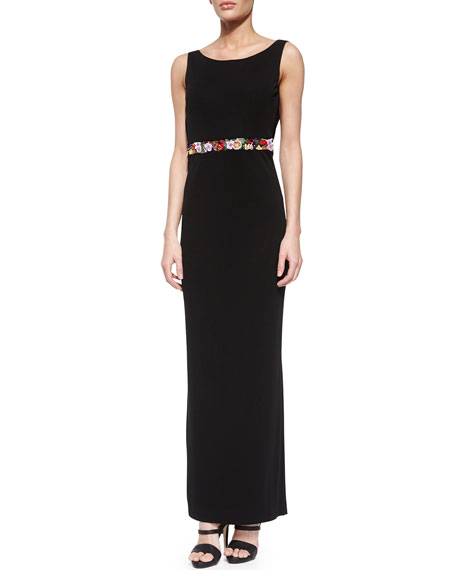 Nicole Miller Sleeveless Floral-Banded Gown