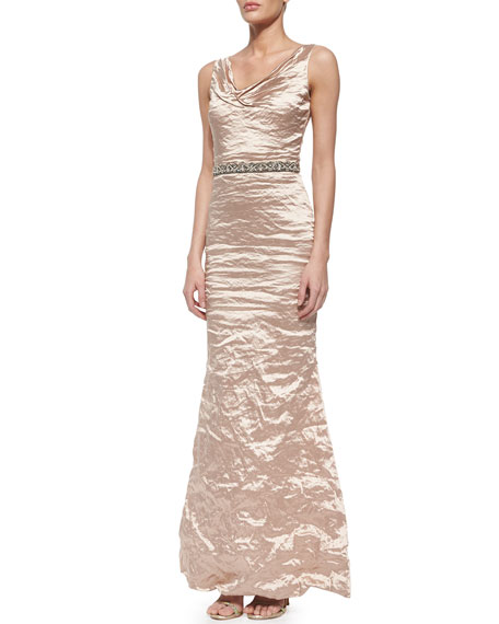 Nicole Miller Sleeveless Ruched Mermaid Gown, Antique Brass