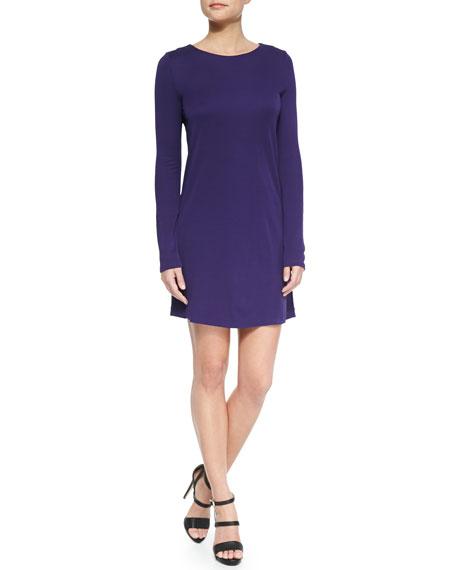Halston Heritage Long-Sleeve Jersey Dress w/ Keyhole, Aubergine