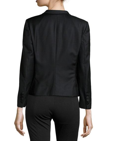 Wool V-Neck Blazer Jacket, Black