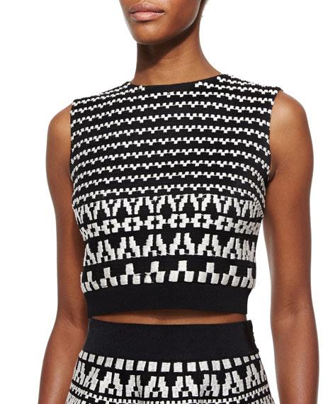 DKNY Geometric-Pattern Sleeveless Crop Top, Black/White