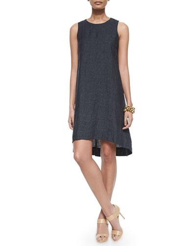 Washed Organic Linen Sleeveless Flare Dress, Petite