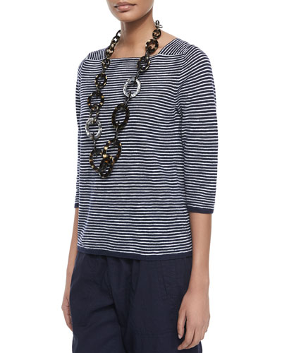 3/4-Sleeve Slub Striped Top