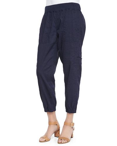 Cargo Linen-Blend Ankle Pants, Petite