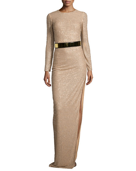 Long-Sleeve Sequined Silk Gown