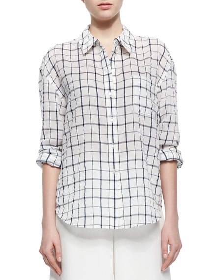 Oversize Windowpane-Check Voile Blouse