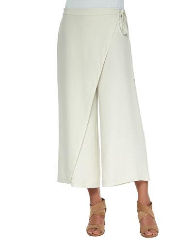 Karate Cropped Silk Pants, Petite