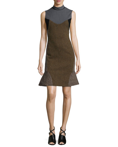 Stella McCartney Mixed-Fabric Dress with Flounce Skirt