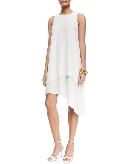 Eileen Fisher Double-Layer Silk Dress, Bone