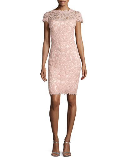 Lace Embroidered Sheath Dress, Petal Bloom