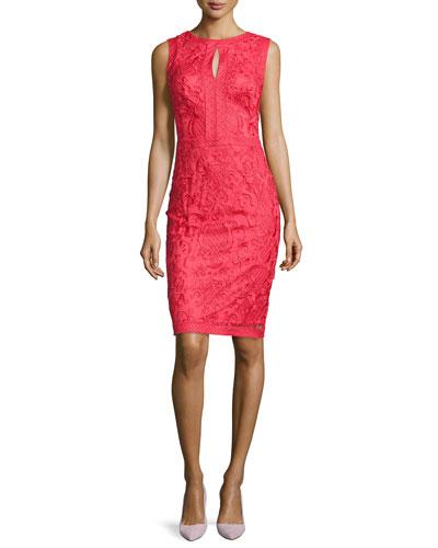 Lace Keyhole Sheath Dress, Rouge