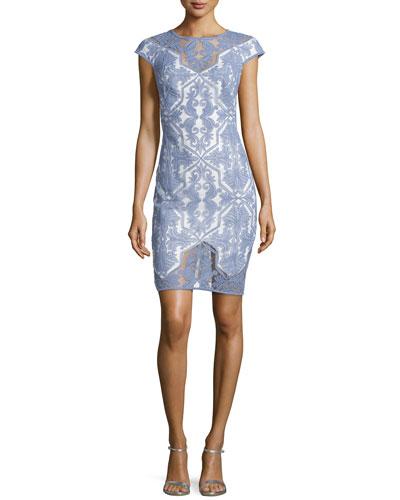 Diamond-Pattern Lace Cocktail Dress, Blue Stone