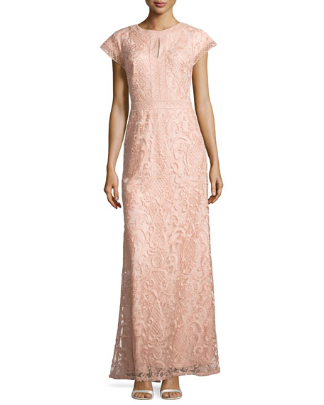 Tadashi Shoji Lace Short-Sleeve Gown, Pink Shadow