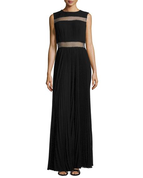Tadashi Shoji Mesh-Inset Plisse Gown, Black