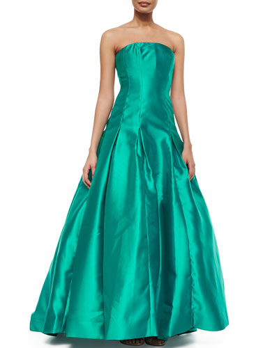 Strapless Pleated Ball Gown, Teal